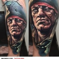 Modern style colored leg tattoo of creepy looking pirate