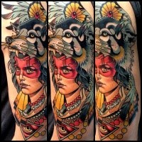 Modern style colored shoulder tattoo of fantasy woman with dog head and jewelry