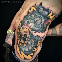 Modern style colored side tattoo of fantasy wolf with human skull