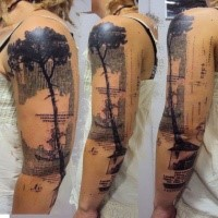 Modern style colored sleeve tattoo of big tree with lettering and anchor