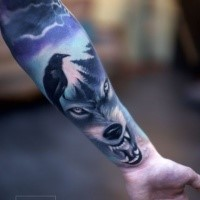 Modern style colored sleeve tattoo of evil wolf with crow