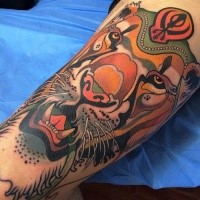 Modern style colored tattoo of big tiger with mysterious symbol