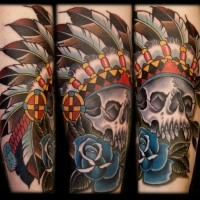 Modern style colored tattoo of Indian skull with blue rose
