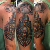 Modern style colored upper arm tattoo of amazing steam train
