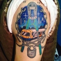 Modern style colored upper arm tattoo of train with mechanical tools