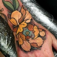 Modern style colored wrist tattoo of cool flower with eye