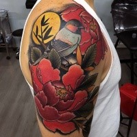 Modern style colorful upper arm tattoo of big bird with flowers