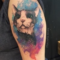 Modern style colorful upper arm tattoo of creative cat