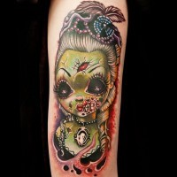 Modern style forearm tattoo of zombie doll