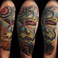 Modern style funny looking shoulder tattoo of frog with headset