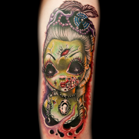 Modern style painted colored arm tattoo of woman zombie