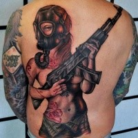 Modern traditional colored sexy woman with AK gun tattoo on back