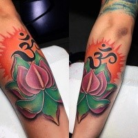 Modern traditional style colored arm tattoo of lotus flower with Asian symbol