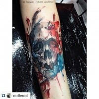 Modern traditional style colored arm tattoo of big skull with flowers and butterfly