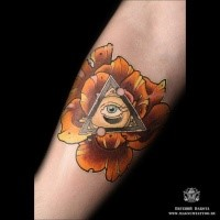 Modern traditional style colored forearm tattoo of rose flower with triangle and eye