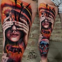 Modern traditional style colored leg tattoo of woman with human skull and ant