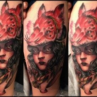 Modern traditional style colored tattoo of mystical woman with fox helmet
