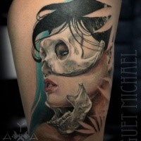 Modern traditional style colored thigh tattoo of woman in bone mask