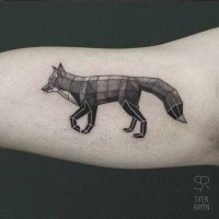 Mosaic style colored biceps tattoo of interesting fox