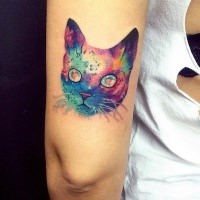 Multicolored amazing looking colored for girl tattoo of cat head