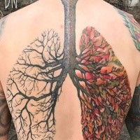 Multicolored by Dino Nemec large whole back tattoo of tree