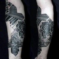 Music themed black ink arm tattoo