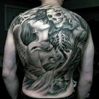 Mystical black and white angel with death tattoo on whole back
