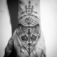 Mystical black ink hand tattoo of raccoon head with symbols