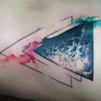 Mystical black ink triangle shaped colored tattoo stylized with moon surface