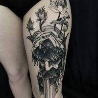 Mystical blackwork style designed by Michele Zingales thigh tattoo of old man head with flowers