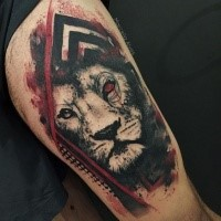 Mystical colored tattoo of tiger with red eye