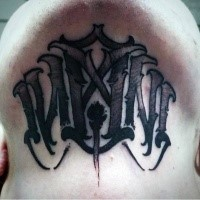 Mystical demonic black work style neck tattoo of ambigram