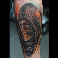 Mystical designed and colored leg tattoo of cool looking demonic warrior