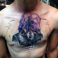 Mystical designed and colored portrait with two animal skulls tattoo on chest