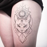 Mystical dot style black ink thigh tattoo of impressive cat with flower ornament