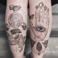 Mystical engraving style black ink leg tattoo of various mushrooms with human hand and eye