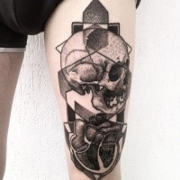Mystical engraving style thigh tattoo of human skull with heart