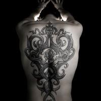 mistico tribale stile grande ornamento con fiore rosa tatuaggio pieno di schiena