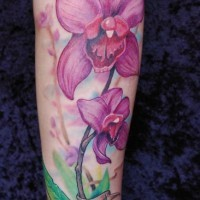 Name and pink orchids forearm tattoo