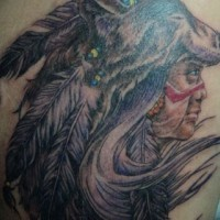 Native american chief in a mask wolf tattoo