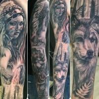 Natürlich aussehende schwarze und weiße indianische Frau Tattoo am Ärmel mit Wolf in großen Worten