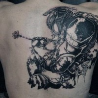 Natural looking black and white medieval knight tattoo on back