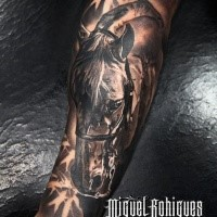 Natural looking colored arm tattoo of big horse head