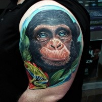 Natural looking colored shoulder tattoo of funny monkey face