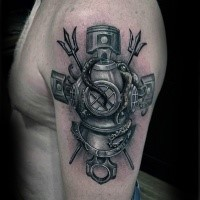 Natural looking colored shoulder tattoo of old divers suit with car pistons