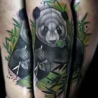 Natural looking colored tattoo of big eating panda bear
