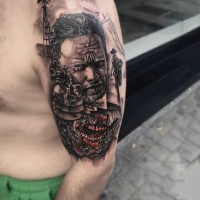 Natural looking colored western themed shoulder tattoo with cowboys and zombie