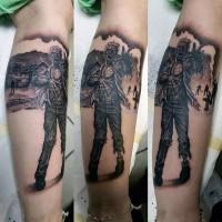 Tatuaje  de zombi aterrador negro blanco
