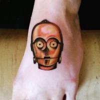 Tatuaje en la pierna, cara de C3PO simple pequeño