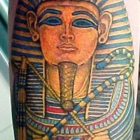 Naturally colored Egyptian Pharaoh Tutankhamen detailed tattoo